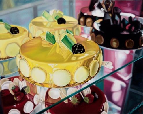"MADELYN SNEED-GRAYS | ""Bonbon Cakes"", 2015 | oil on canvas | 24"" X 30"""